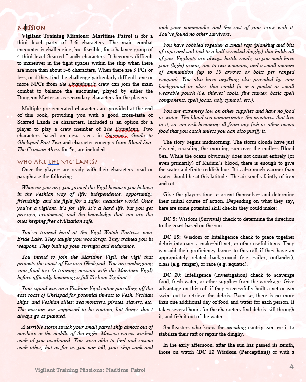 A page of text from the adventure describing its setting and start.
