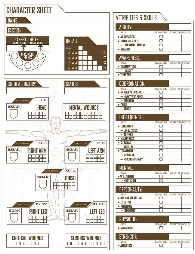 Mutant Chronicles Character Sheets (free)