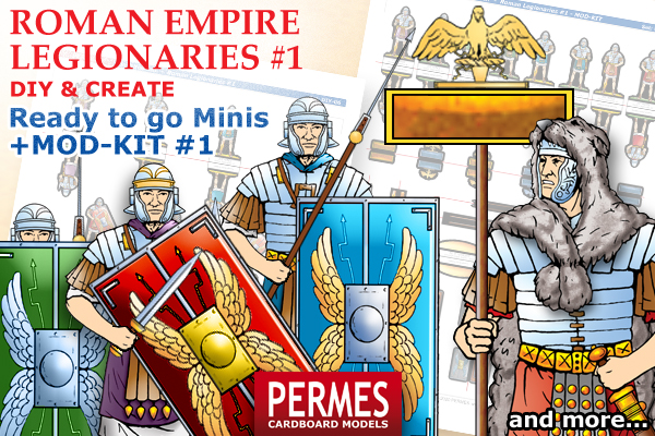 Roman Imperial Legionaries #1 - PERMES DIY &CREATE Series paper minis - preview 2