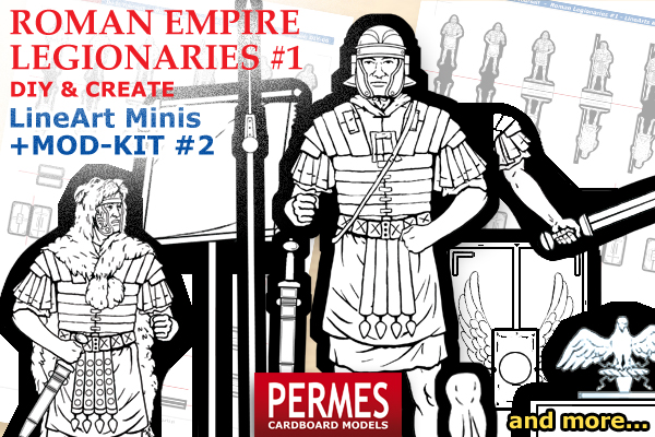 Roman Imperial Legionaries #1 - PERMES DIY &CREATE Series paper minis - preview 3