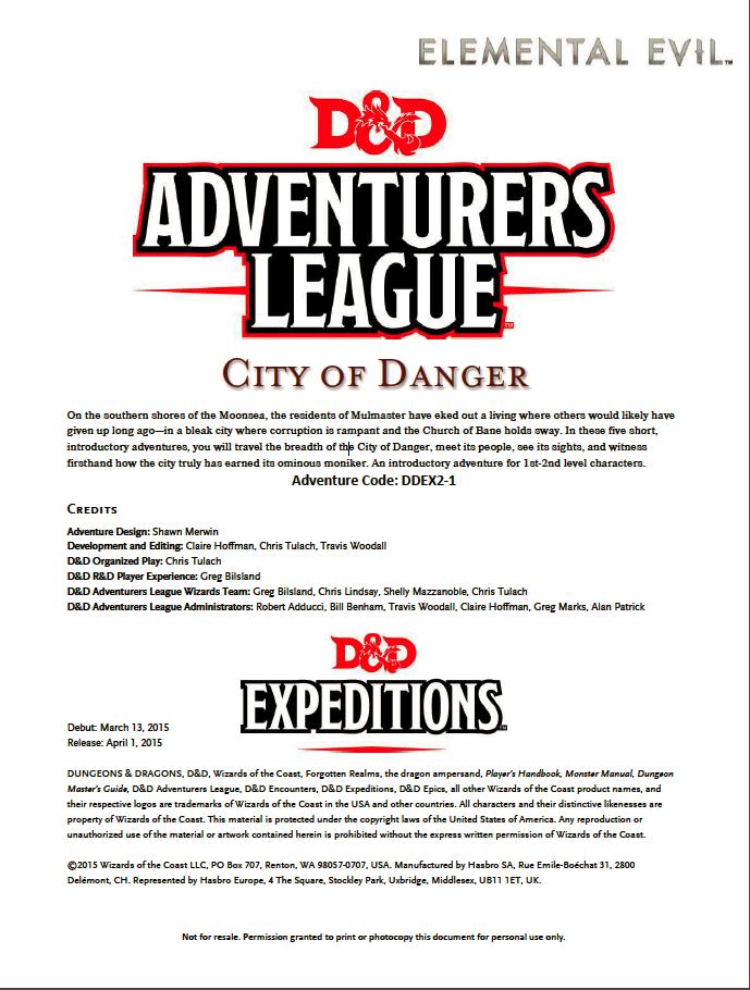 Cover of DDEX02-01 City of Danger