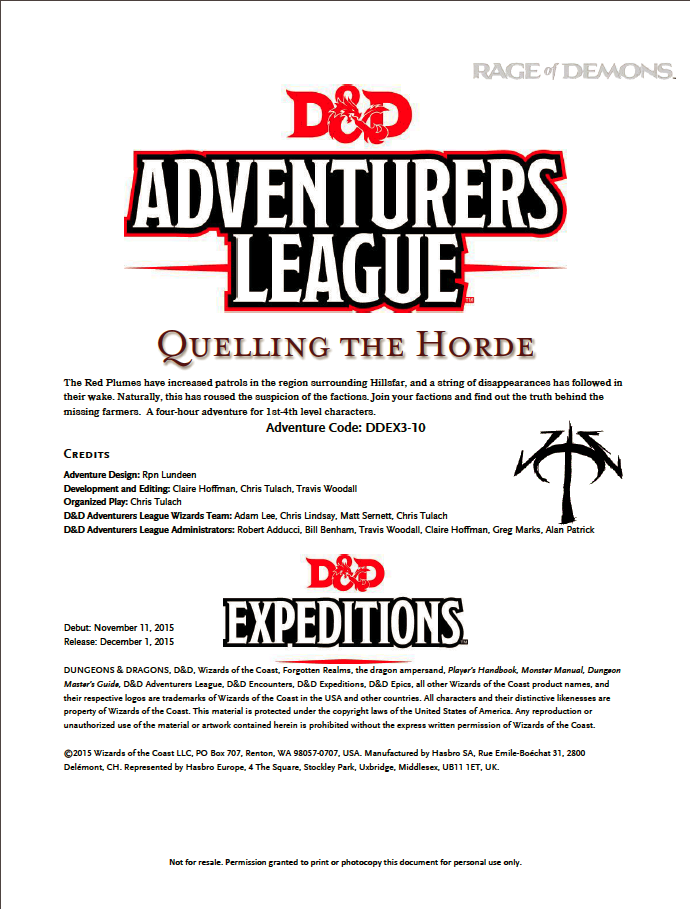 Cover of DDEX03-10 Quelling the Horde