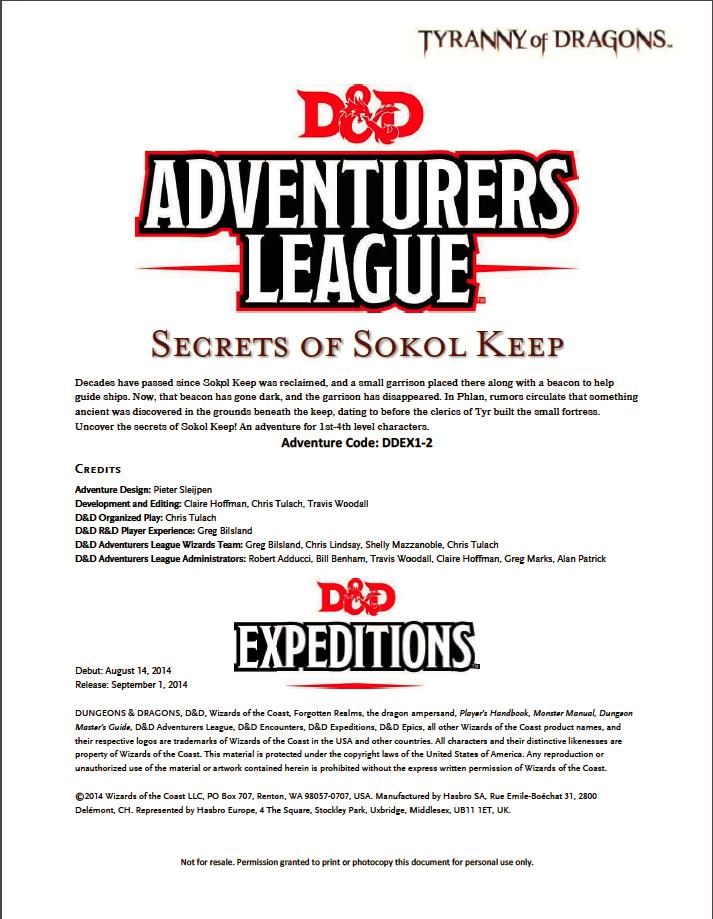 Cover of DDEX01-02 Secrets of Sokol Keep