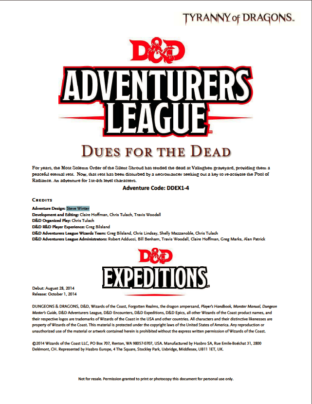 Cover of DDEX01-04 Dues for the Dead
