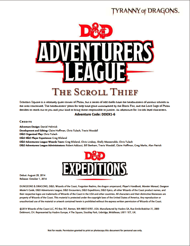 Cover of DDEX01-06 The Scroll Thief