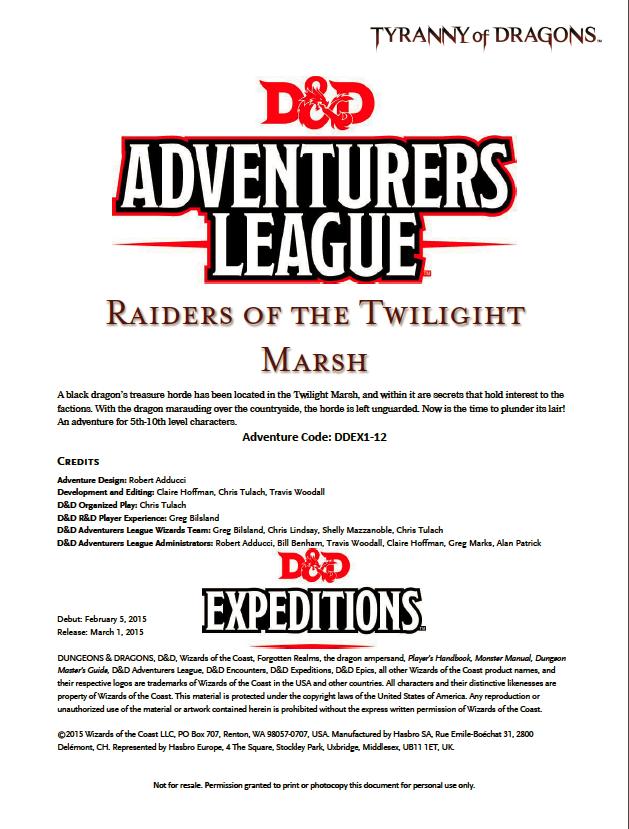 Ddex1 12 Raiders Of The Twilight Marsh 5e Wizards Of