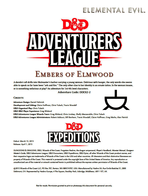 Cover of DDEX02-02 Embers of Elmwood