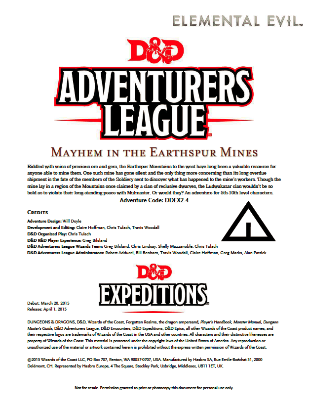 Cover of DDEX02-04 Mayhem in the Earthspur Mines