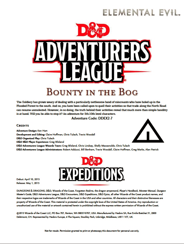 Cover of DDEX02-07 Bounty in the Bog