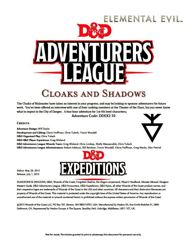Cover of DDEX02-10 Cloaks and Shadows