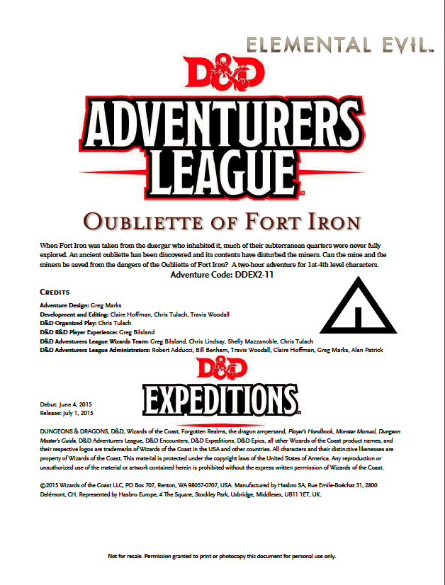 Cover of DDEX02-11 Oubliette of Fort Iron