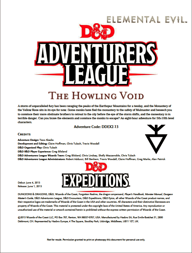 DDEX2-13 The Howling Void (5e) - Wizards of the Coast | D&D 5th