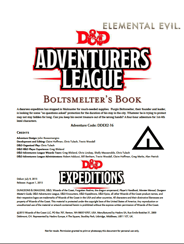 Cover of DDEX02-16 Boltsmelter's Book