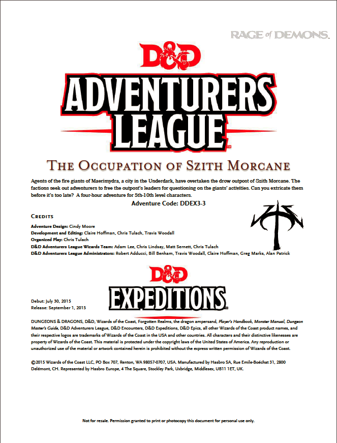 Cover of DDEX03-03 The Occupation of Szith Morcane