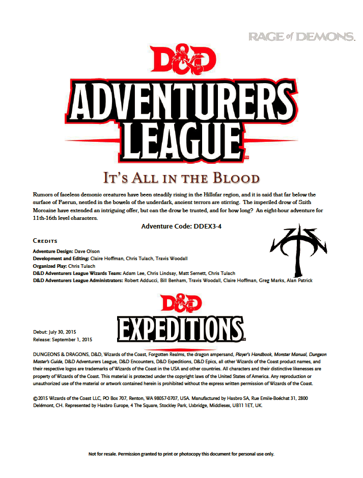 DDEX3-04 It's All in the Blood (5e)