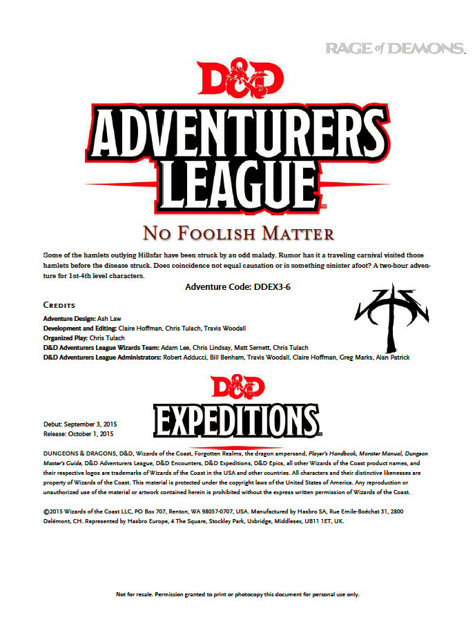 DDEX3-06 No Foolish Matter (5e)