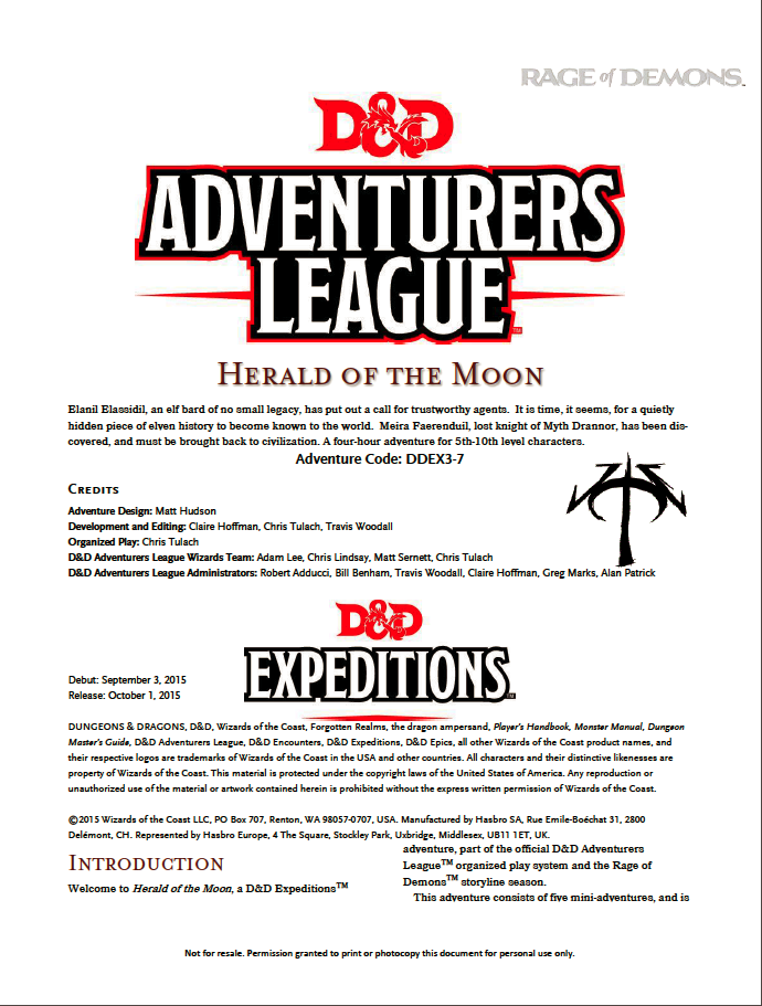 Cover of DDEX03-07 Herald of the Moon