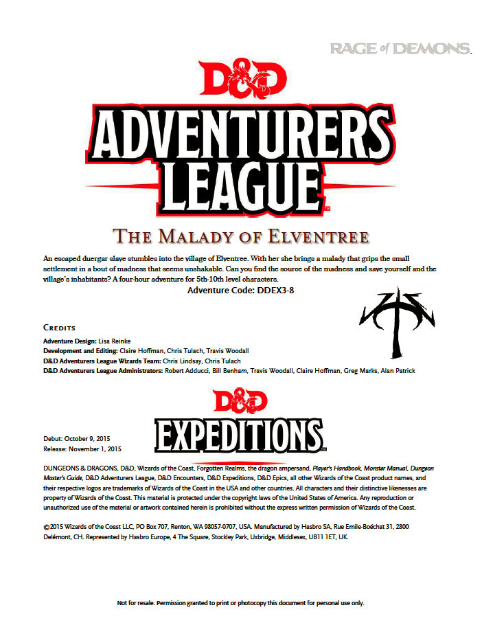 Cover of DDEX03-08 The Malady of Elventree