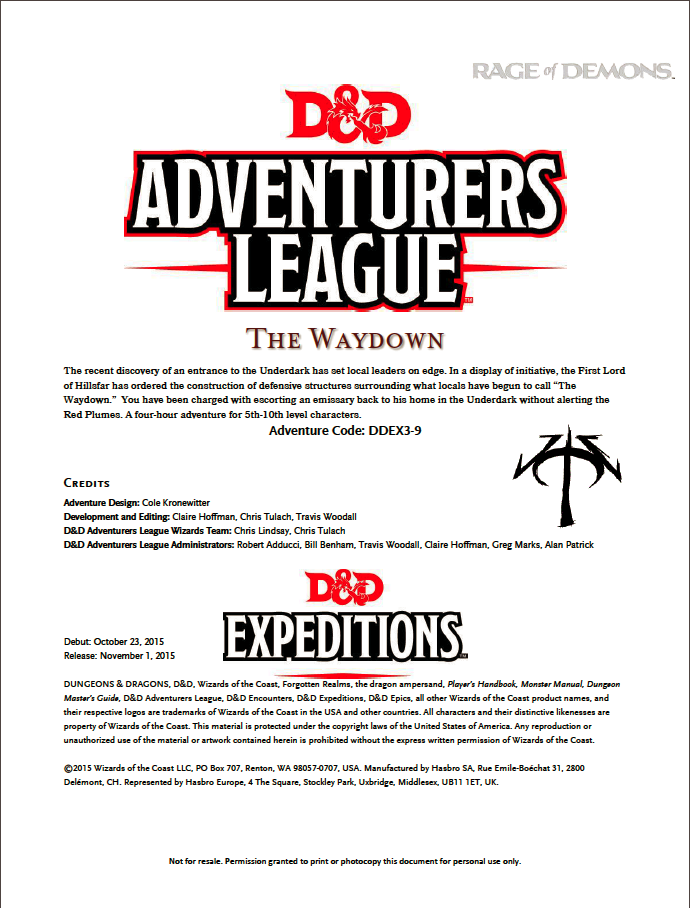 DDEX3-09 The Waydown (5e)