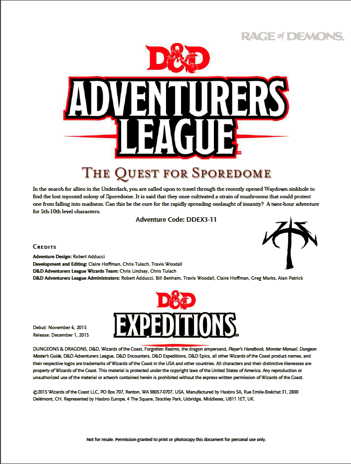Cover of DDEX03-11 The Quest for Sporedome