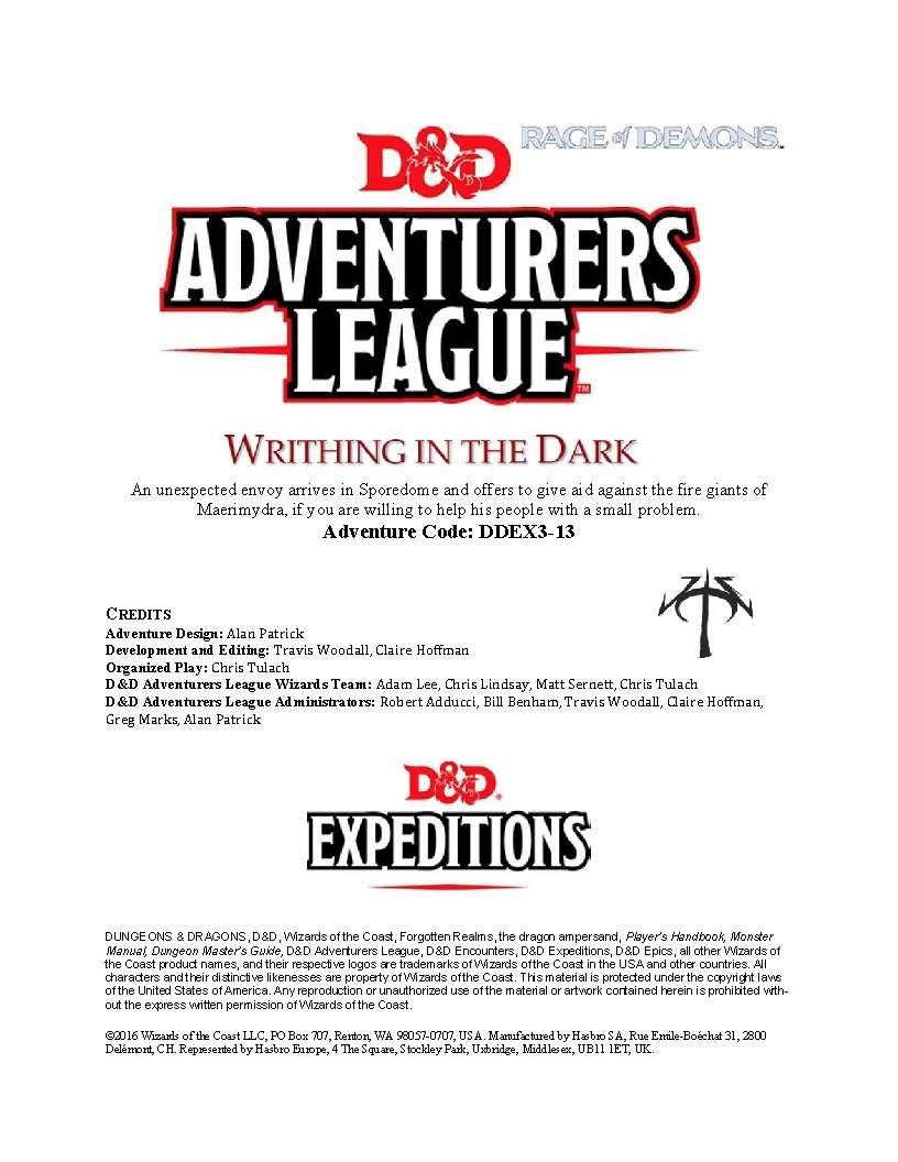 DDEX03-13 Writhing in the Dark (5e) - Wizards of the Coast
