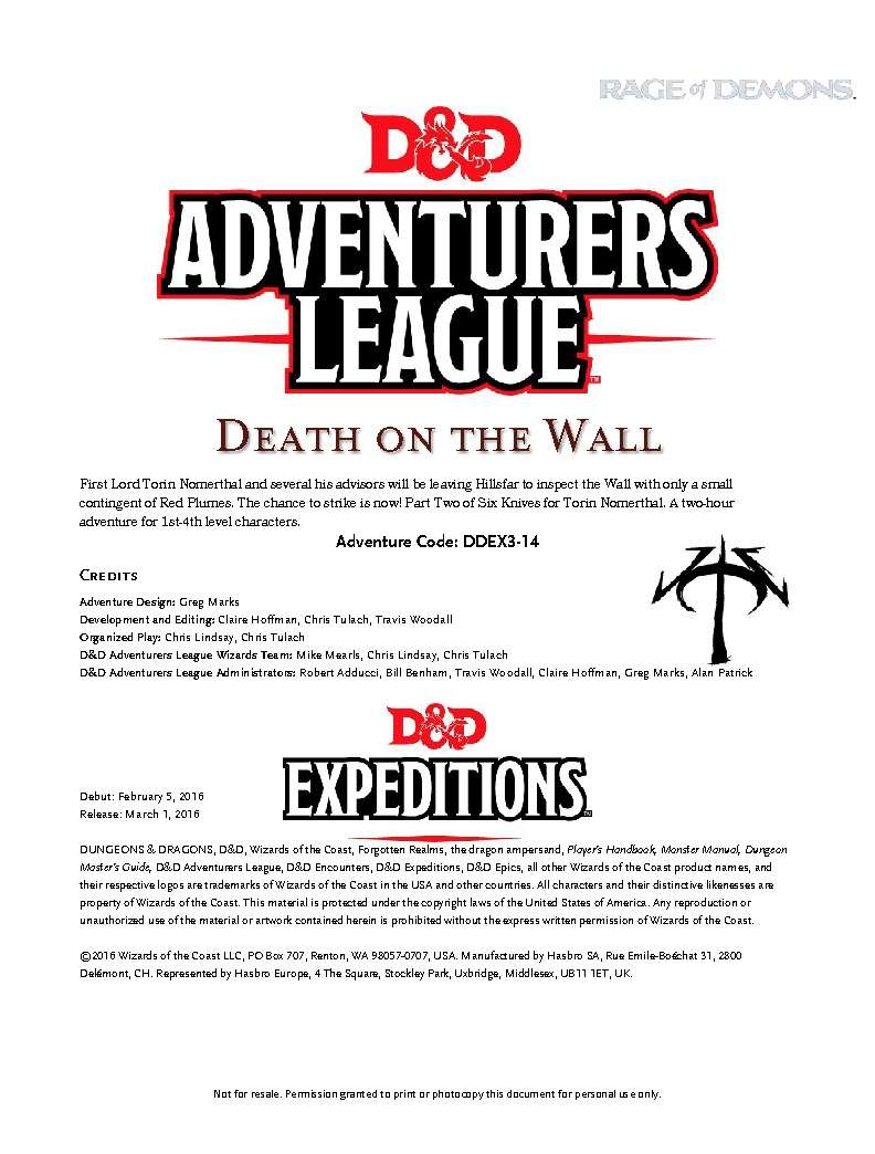 Cover of DDEX03-14 Death on the Wall