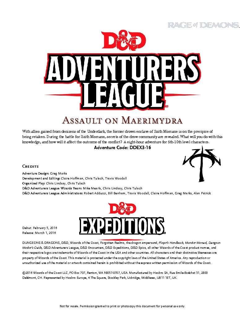 Cover of DDEX03-16 Assault on Maerimydra