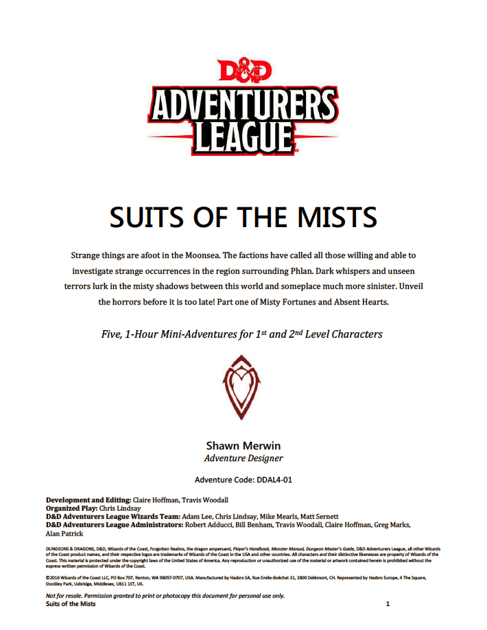 Ddal4 01 Suits Of The Mists 5e Wizards Of The Coast