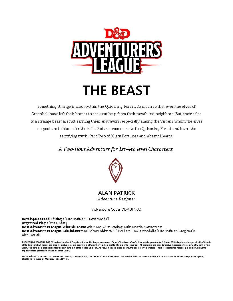Cover of DDAL04-02 The Beast
