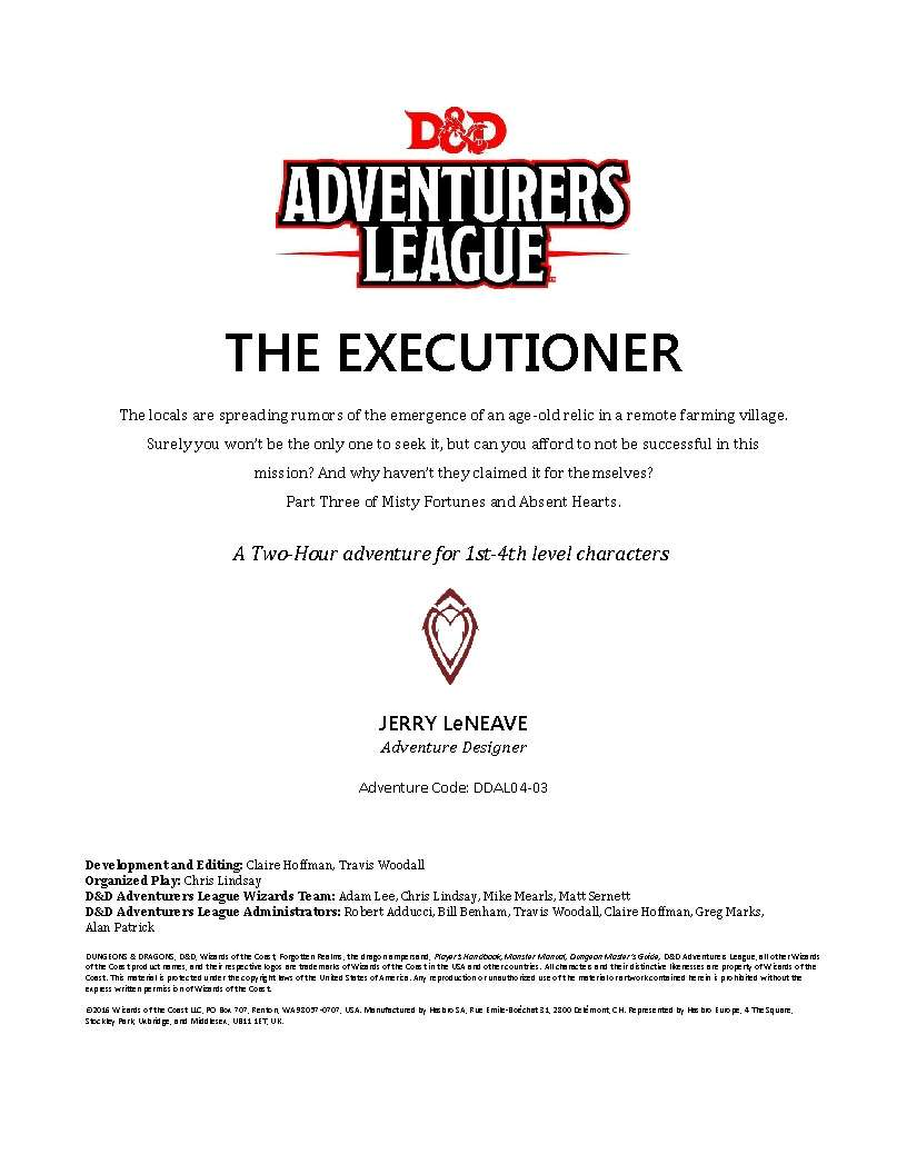 DDAL04-03 The Executioner (5e)