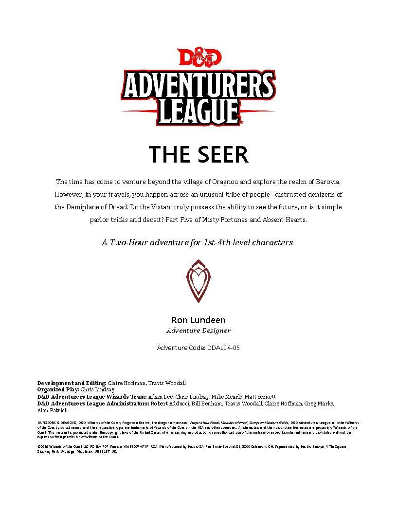 Cover of DDAL04-05 The Seer