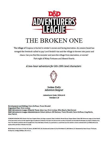 DDAL04-08 The Broken One (5e)