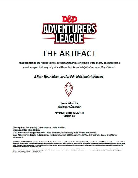 Cover of DDAL04-10 The Artifact