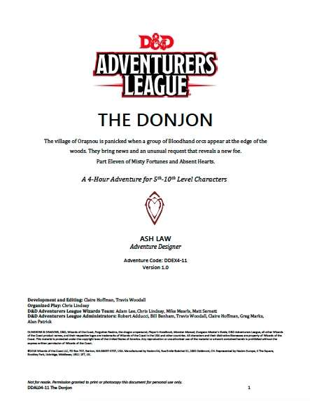 Cover of DDAL04-11 The Donjon