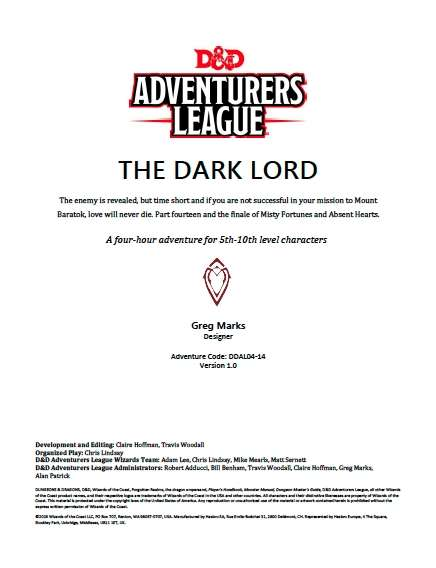 Cover of DDAL04-14 The Dark Lord