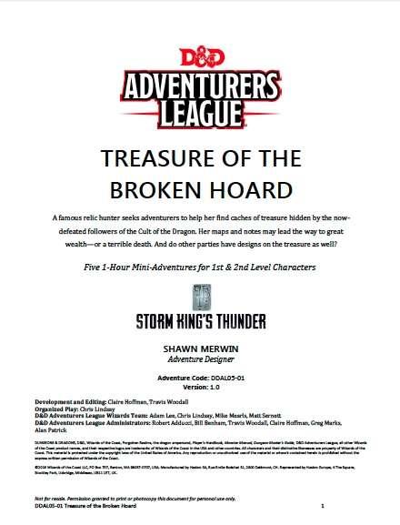 DDAL05-01 Treasure of the Broken Hoard (5e) - Wizards of the Coast