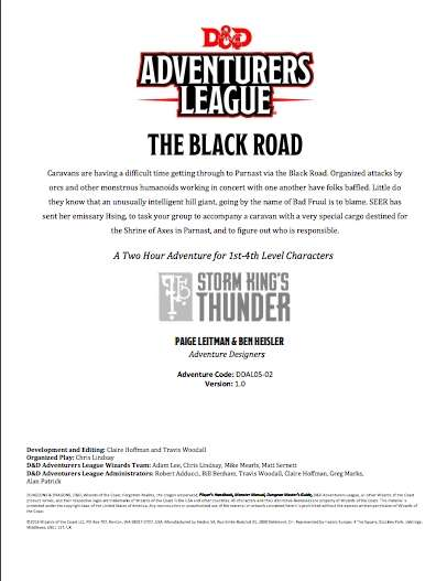 DDAL05-02 The Black Road (5e)
