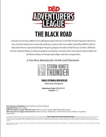 DDAL05-02 The Black Road (5e)