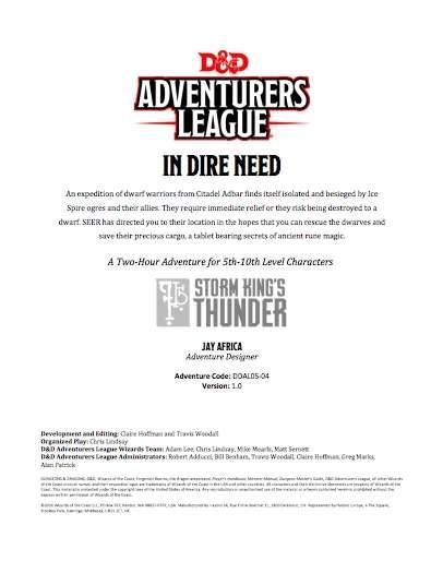 DDAL05-04 In Dire Need (5e)