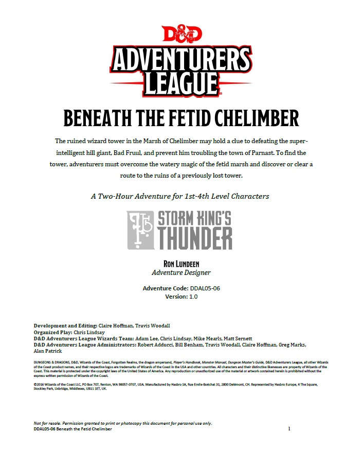 DDAL05-06 Beneath the Fetid Chelimber (5e)