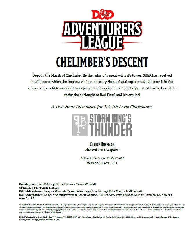 Cover of DDAL05-07 Chelimber's Descent