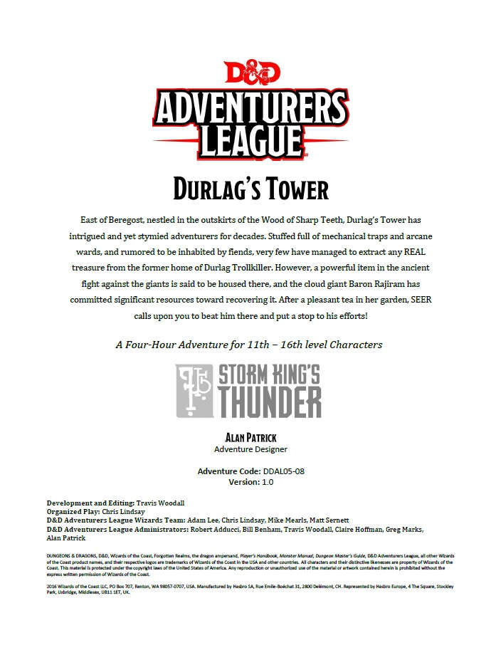 Cover of DDAL05-08 Durlag's Tower