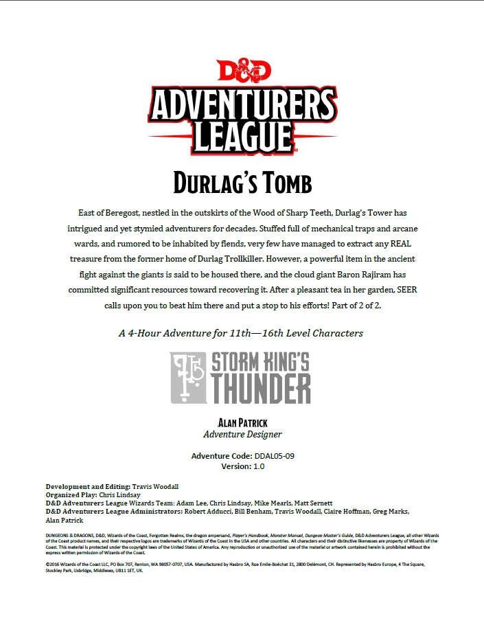DDAL05-09 Durlag's Tomb (5e)