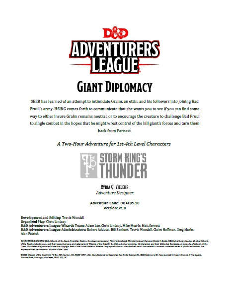 Cover of DDAL05-10 Giant Diplomacy