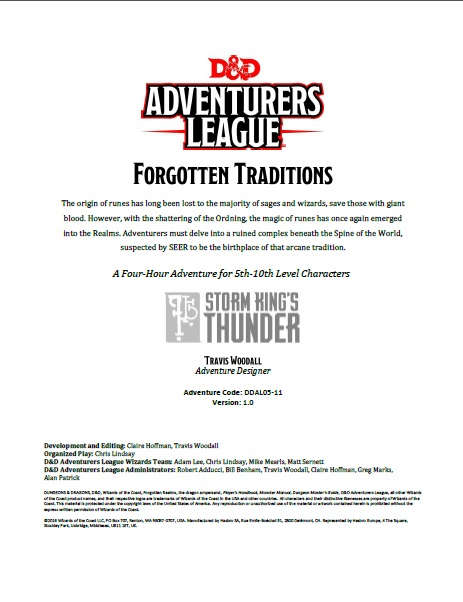DDAL05-11 Forgotten Traditions (5e)