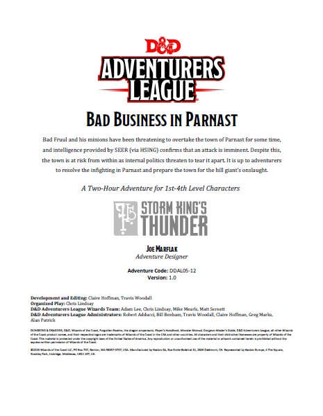 Cover of DDAL05-12 Bad Business in Parnast
