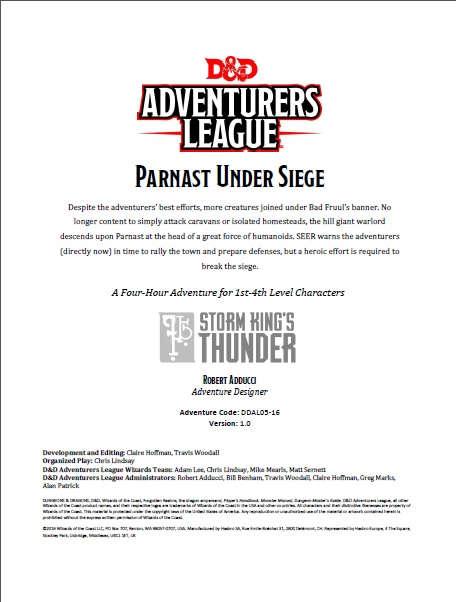 Cover of DDAL05-16 Parnast Under Siege