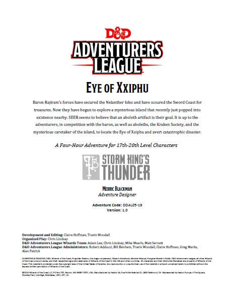 DDAL05-19 Eye of Xxiphu (5e)