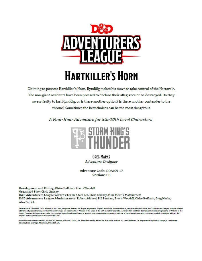 Cover of DDAL05-17 Hartkiller's Horn