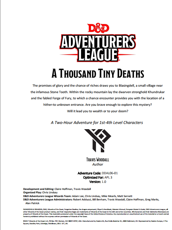 Cover of DDAL06-01 A Thousand Tiny Deaths